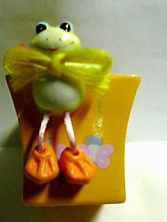 蛙付き植木鉢♪
