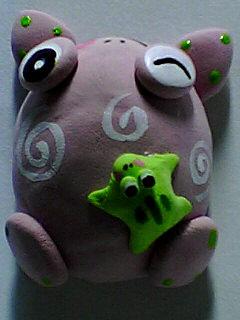 軽量粘土 蛙マグネット