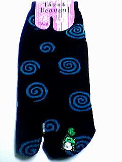 蛙刺繍付き渦巻き足袋