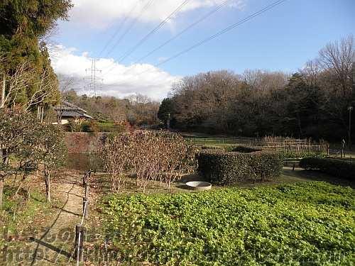 里山の農家を再現した錦織公園の河内の里の風景