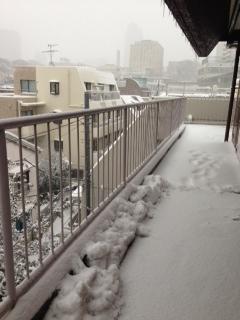 マンション外廊下の大雪