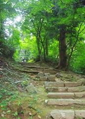 神社への急な山道