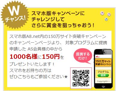 『A8.net』150万サイト突破キャンペーン4