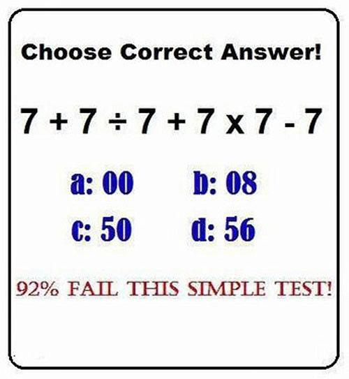 「7+7÷7+7×7-7」を92%の人が解けないらしい