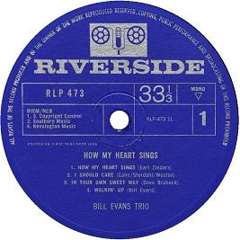 Bill Evans How My Heart Sings RLP 473