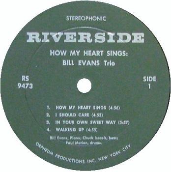 Bill Evans How My Heart Sings RS 9473 Orpheum