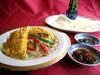 7】五目野菜のクレープ包み XO醬&甜面醤添え