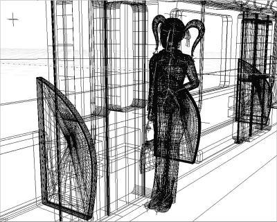 3DキャラOL(電車の中)ワイヤーフレーム
