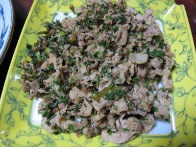 コシアブラと豚肉の炒め物