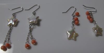 サンゴと星真珠のピアス