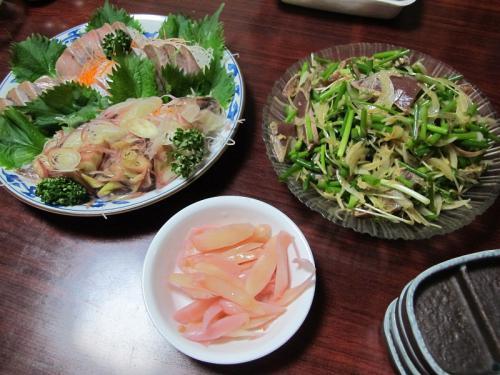 刺身盛り、刺身サラダ、山下の新ショウガ