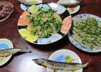 牡蠣ニラ玉、黒はんぺん、サンマの塩焼き