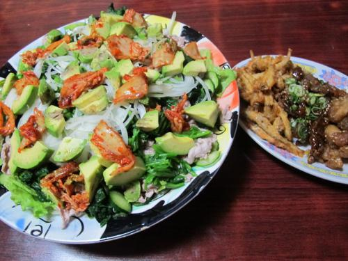 豚冷しゃぶとホウレンソウアボカドキムチサラダ、揚げ物惣菜