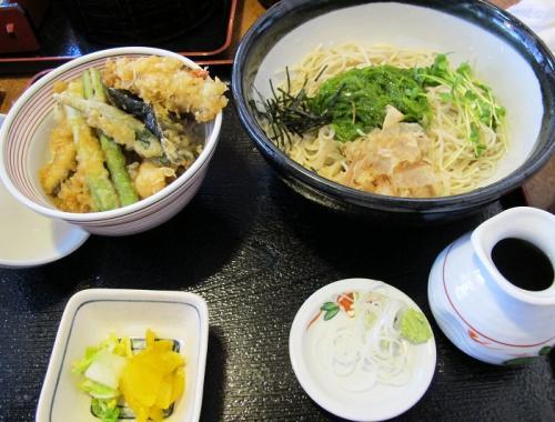メカブ蕎麦と穴子天丼セット