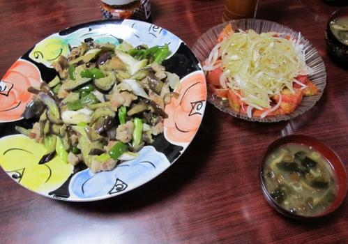 豚ばら肉と野菜の塩だれ炒め、トマトとオニオンのサラダ