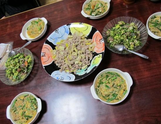 マダケと豚肉炒め,マグロとアボカドのワサビしょう油和え