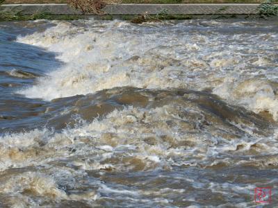 増水している猪名川