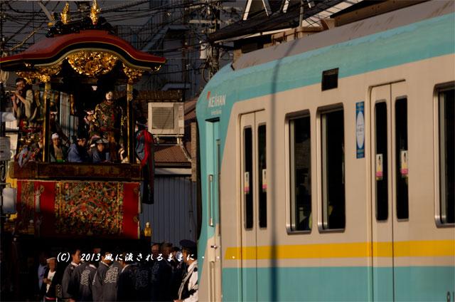 2013年 大津祭 曳山と京阪電車4
