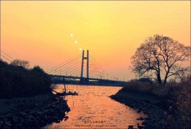 天建寺橋 月と夕景