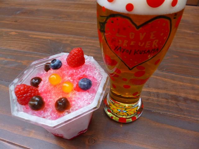 かき氷もグラスビールも水玉です