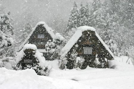 見渡す限りの白銀~世界遺産 白川郷~昔の風情そのままののんびりとした風景が、今は真っ白な雪に覆われています ①