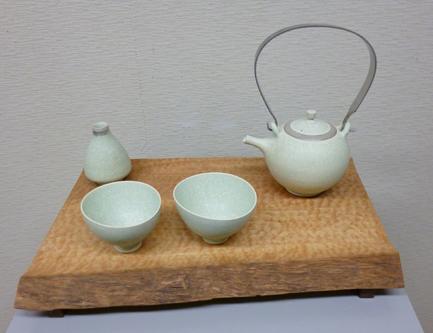 中村譲司「白翠結晶銀彩急須・茶盃」