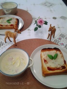 ポテトパンとクリーミー豆乳スープ