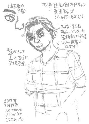 亀田籾次のラフ画