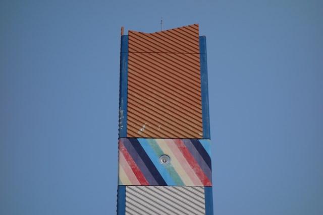 公団星の原団地の給水塔頂部