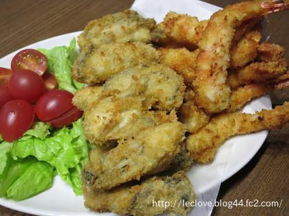 牡蠣&エビフライ