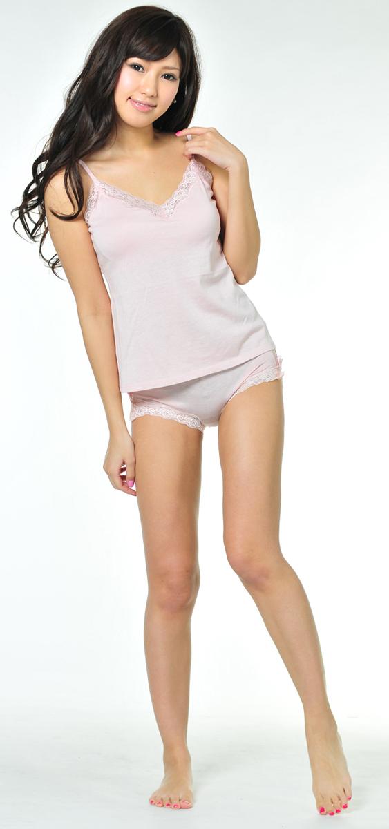 シルク ソフブラ キャミソール ショーツ セット 太もも 全身 下着モデル 高画質エロかわいい画像9