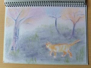 描き始め 桜の下を歩くミケ子