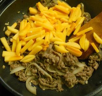 柿と牛肉の牡蠣ソース炒め&柿の大根おろしあえ&柿フライ3