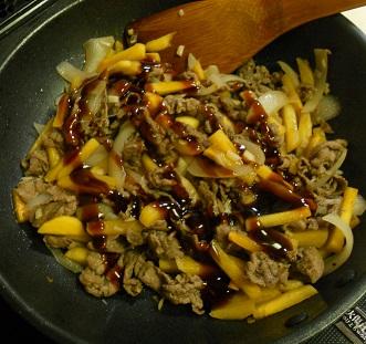 柿と牛肉の牡蠣ソース炒め&柿の大根おろしあえ&柿フライ5