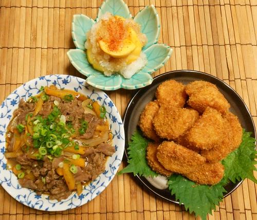 柿と牛肉の牡蠣ソース炒め&柿の大根おろしあえ&柿フライ12