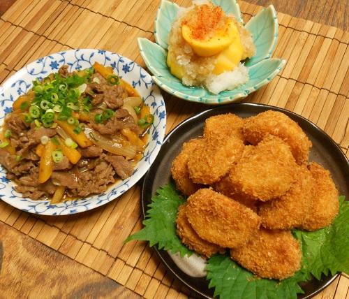 柿と牛肉の牡蠣ソース炒め&柿の大根おろしあえ&柿フライ13