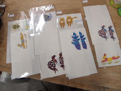 和紙に型染め一筆せんセット