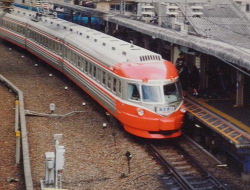 小田急3000形SE車「あさぎり」(1990年10月・代々木八幡駅)2