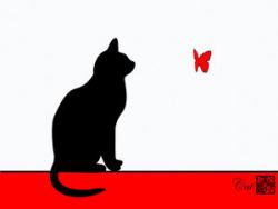 ねこ 蝶1