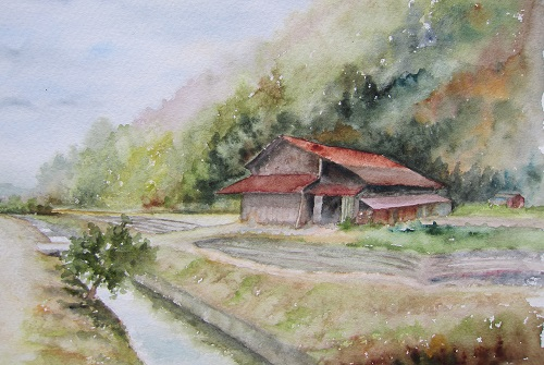 丹波篠山 水路横の小屋