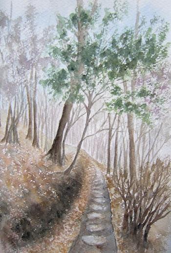 るり渓 落ち葉の遊歩道