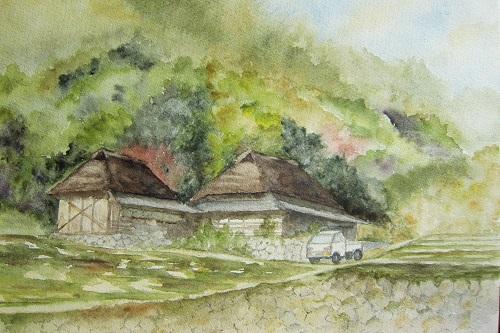 八塔寺 坂の上の茅葺き