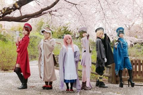 としまえんで撮影した、ボカロの千本桜の初音ミクと鏡音リンと鏡音レンと巡音ルカとMEIKOとKAITOの集合コスプレ画像
