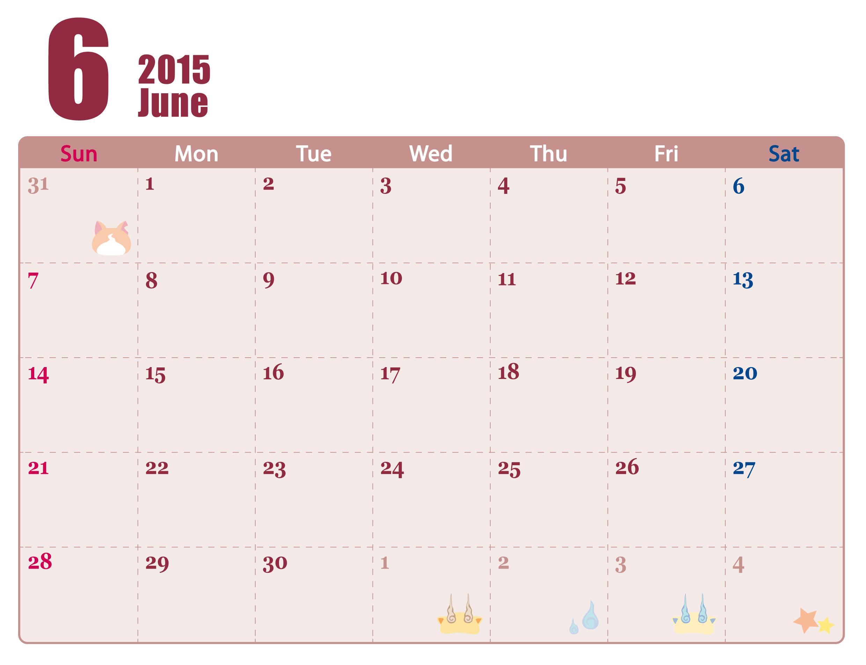 カレンダー 2015 6月 カレンダー : ... ウォッチ 2015年 カレンダー 6月