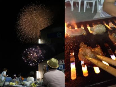 焼肉を食べながら真近に花火を鑑賞