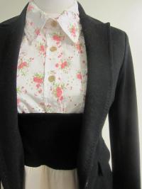 ジャケット 花柄ブラウス