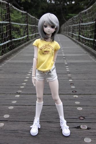 吊り橋にて