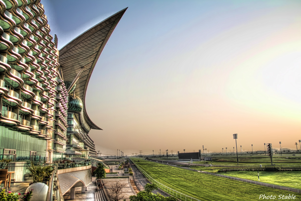 Morning glow at Meydan Racecourse