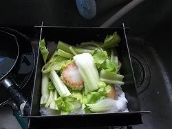 ⑦セロリ、くず野菜などと塩