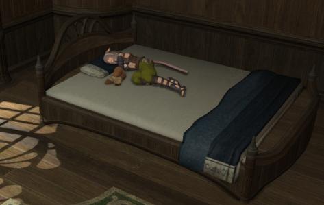 ベッドでねむねむ